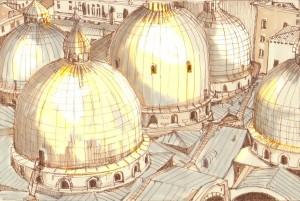 Kuppeleln von Venedig abendsonne